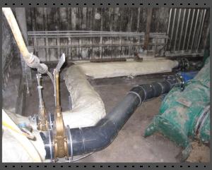 Leitungen einer Biogasanlage isoliert